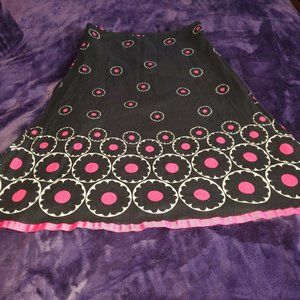 Willi Smith skirt black and pink